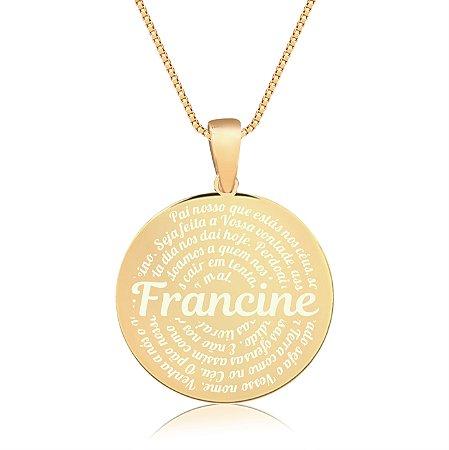 Gargantilha Mandala Personalizada Pai Nosso Católico - Banhado a Ouro 18k