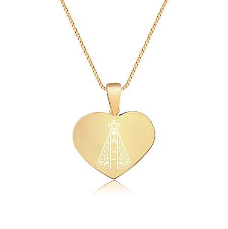 Gargantilha Coração Pequeno Personalizado Religiosos - Banhado a Ouro 18k