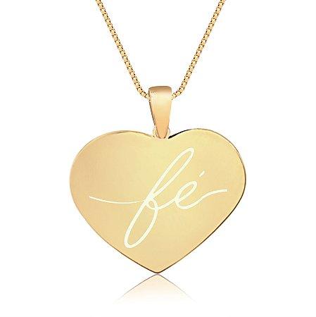 Gargantilha Coração Grande Personalizado Religiosos - Banhado a Ouro 18k
