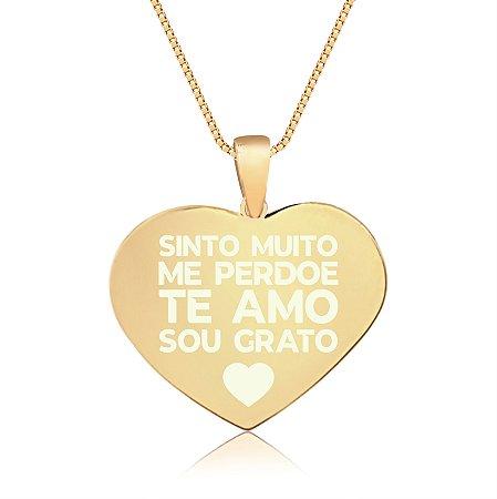Gargantilha Coração Grande Personalizado Ho'oponopono - Banhado a Ouro 18k