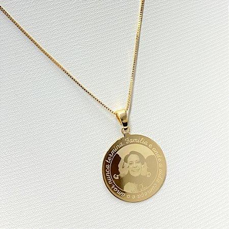 Gargantilha Mandala Personalizada Fotogravação com dizer na volta - QUALQUER FOTO - Banhado a Ouro 18k
