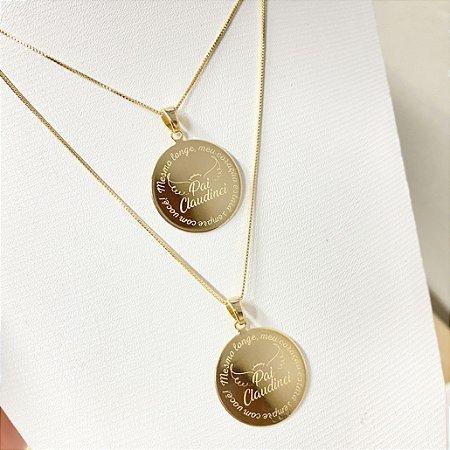 Gargantilha Mandala Personalizada Frases/Homenagens - Banhado a Ouro 18k