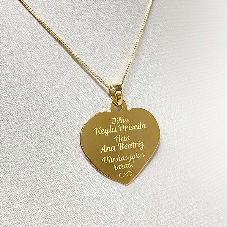 Gargantilha Coração Grande Personalizado Frases - Banhado a Ouro 18k