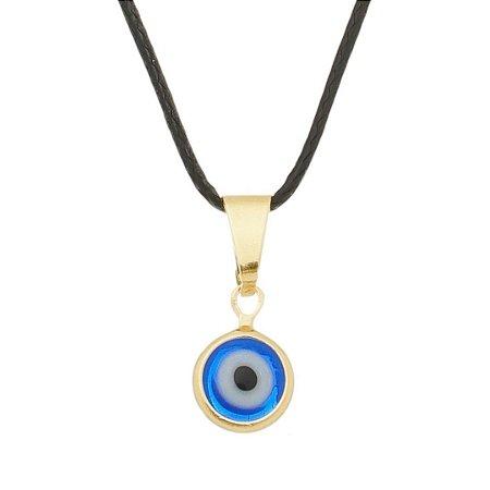Gargantilha com Olho Grego 8 mm_O_ no Cordão