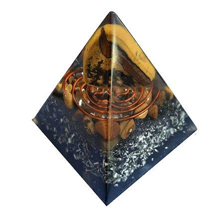ORGONITE - PIRAMIDE DE OLHO DE TIGRE 5,5X5,5X6,0