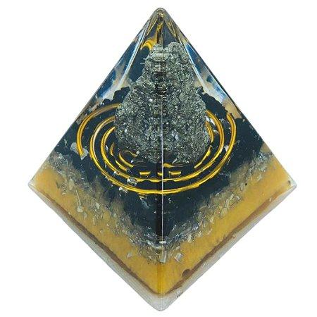 ORGONITE - PIRAMIDE DE PIRITA COM TURMALINA NEGRA 5,5X5,5X6,0