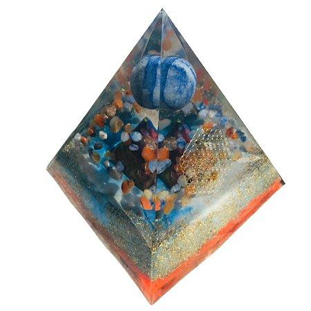 ORGONITE DE QUARTZO AZUL com ÁGATA DE FOGO e PIRÂMIDE INTERNA base 12 cm x 13 cm altura