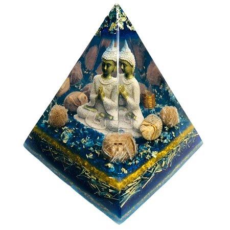 Orgonite Sidarta Gautama Rosa do Deserto e Cristal Lemuriano - Base 12cm x 14cm Altura