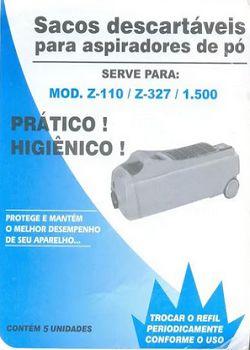 Sacos descartáveis para aspirador de pó Electrolux - Z110, Z327 e 1500