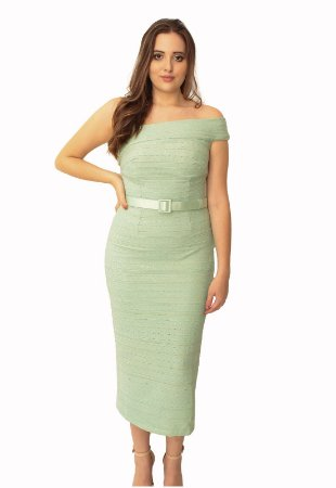 Vestido Midi Bandagem Verde L'or