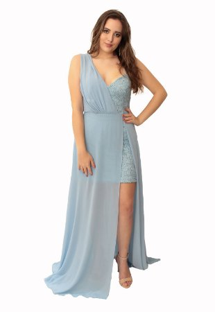 Vestido Longo Guipir Lore Azul