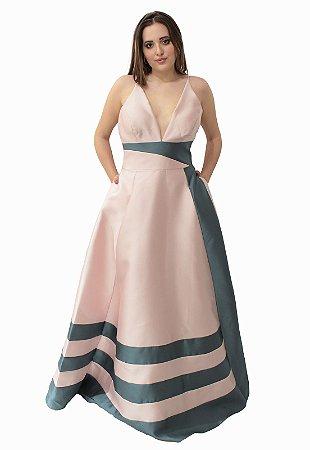 Vestido Longo Rose com Cinza M Rodarte