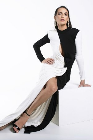 Vestido Longo Bicolor Preto Off