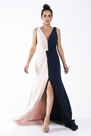 Vestido Longo Bicolor Azul e Nude