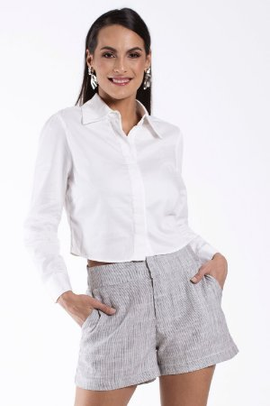 Camisa Cropped Off White