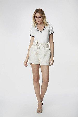 T-Shirt Branca Bicolor Marinho