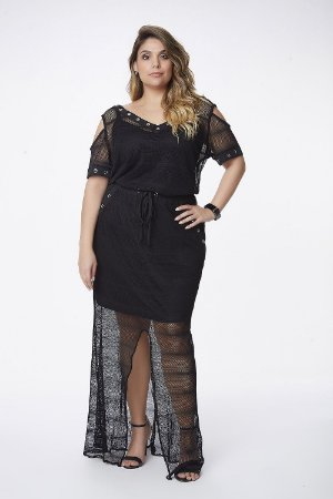 Vestido Beach Plus Size Preto