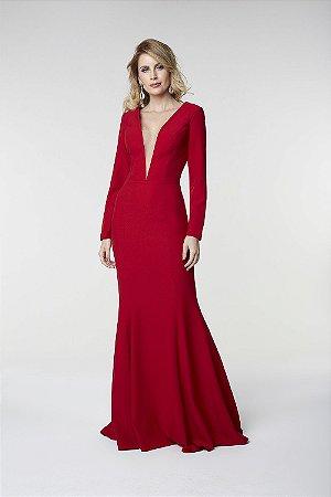 Vestido Longo Com Mangas Vermelho