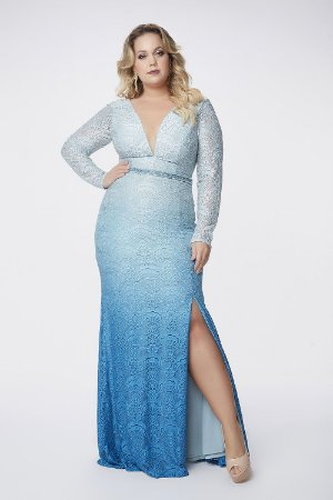 Vestido Longo Plus Size Kalandra Azul Degradê