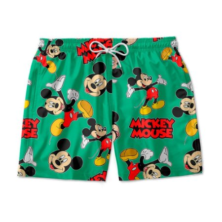 Short De Praia Estampado Mickey Verde Use Nerd