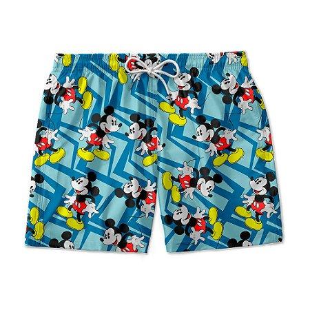 Short De Praia Estampado Mickey Mouse Azul Use Nerd