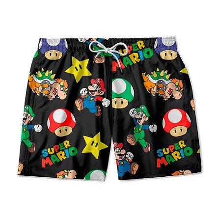 Short De Praia Estampado Super Mario World Use Nerd