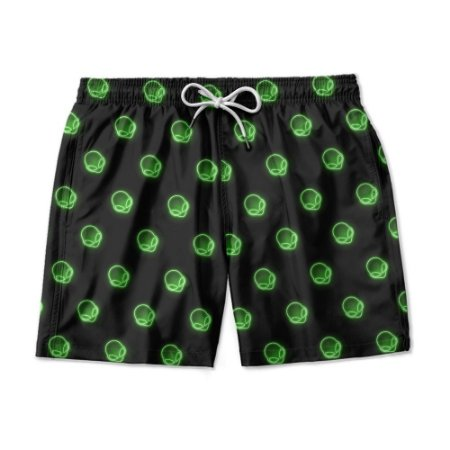 Short De Praia Estampado Aliens Neon Use Nerd