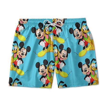Short Praia Estampado Mickey e Pluto Use Nerd
