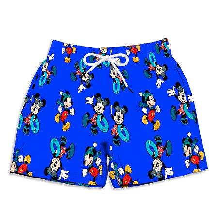 Short Praia Estampado Infantil Mickey Azul Use Nerd