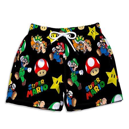 Short Praia Estampado Infantil Super Mario Bros Use Nerd