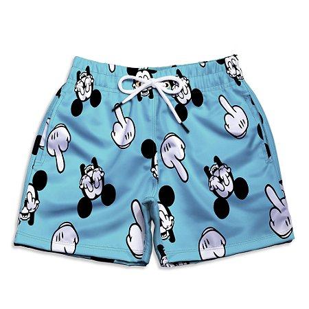 Short Praia Estampado Infantil Mickey Dedos Azul Use Nerd