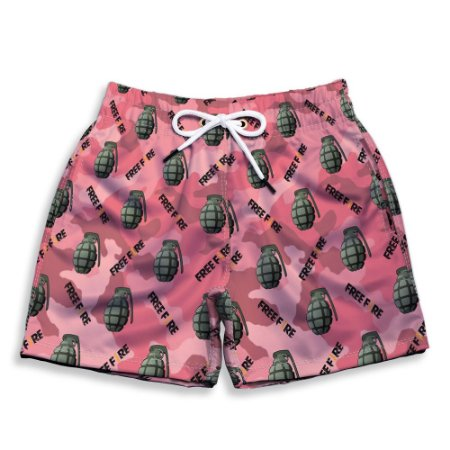 Short Praia Estampado Infantil Free Fire Use Nerd