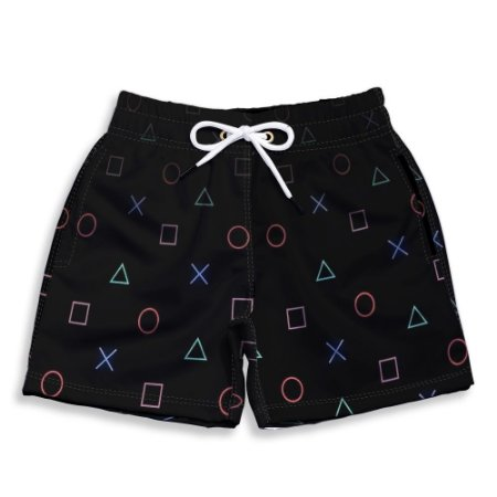 Short Praia Estampado Infantil Play Stations Use Nerd