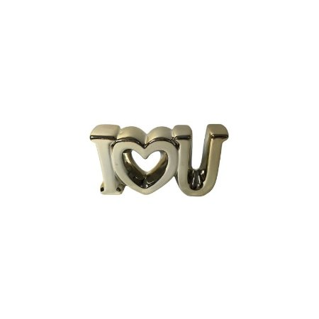 Escultura I♡U de Cerâmica Dourado GDR0448
