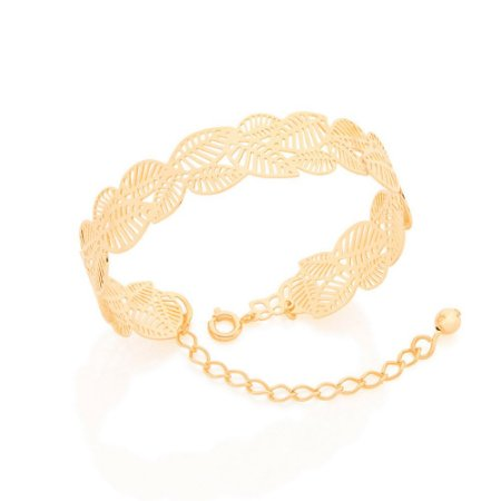 Bracelete de Folhas Folheado A Ouro Rommanel 551528