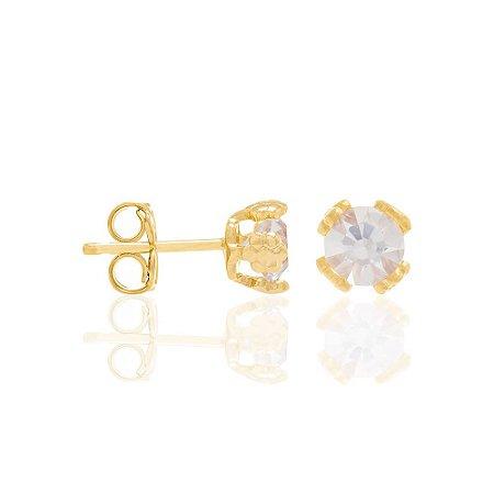 Brinco Solitário De Cristal Folheado A Ouro Rommanel 524527
