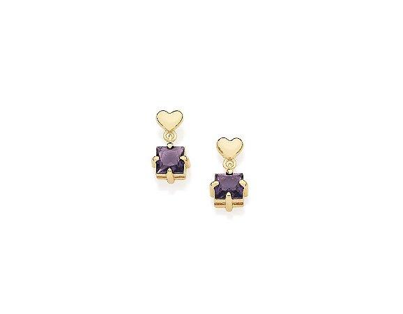 Brinco Coração E Cristal Folheado A Ouro Rommanel 525531