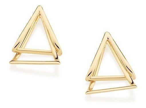 Brinco De Triangulos Folheado A Ouro Rommanel 525695