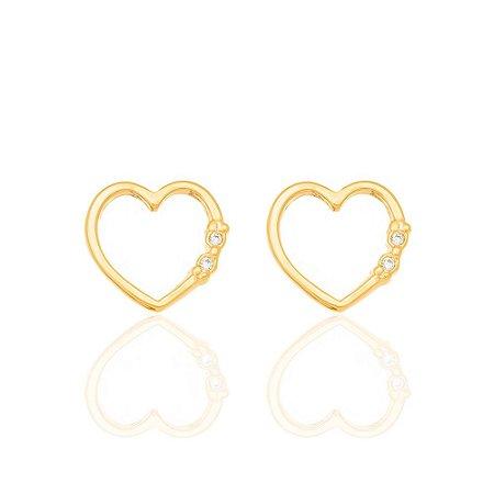 Brinco formato coração vazado Rommanel Folheado a ouro