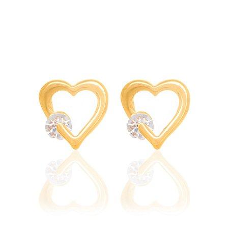 Brinco coração com cristal Rommanel Folheado a ouro