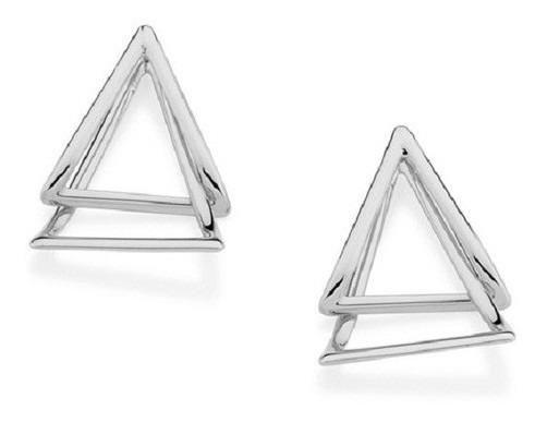 Brinco Rhodium Rommanel Triângulos Entrelaçados 121565