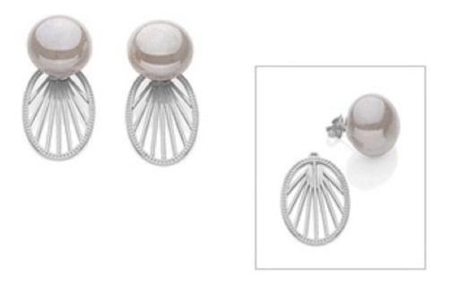 Brinco Ear Jacket Rhodium Rommanel Com Pérola Shell 121604