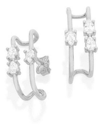 Brinco Ear Hook Rhodium Rommanel Com Zircônios Gota 121667