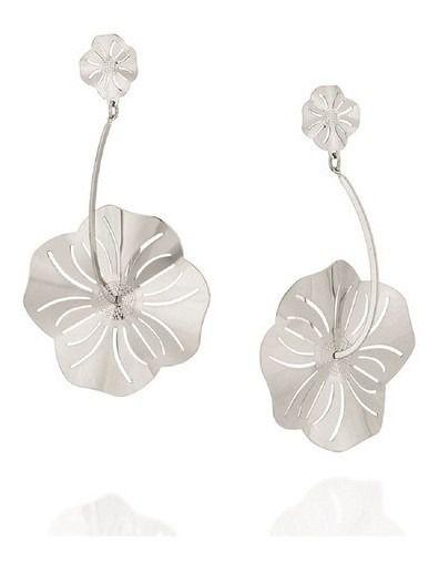 Brinco Rhodium Rommanel Flores Estilizadas 121772