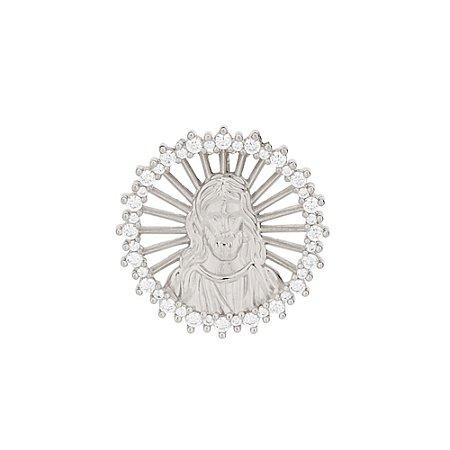 Pingente De Jesus Folheado a Rhodium Rommanel 140800