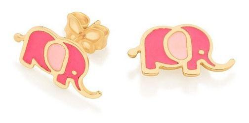 Brinco Infantil De Elefante Folheado A Ouro Rommanel 526492