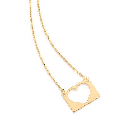 Gargantilha Com Coração Folheado A Ouro Rommanel 532056