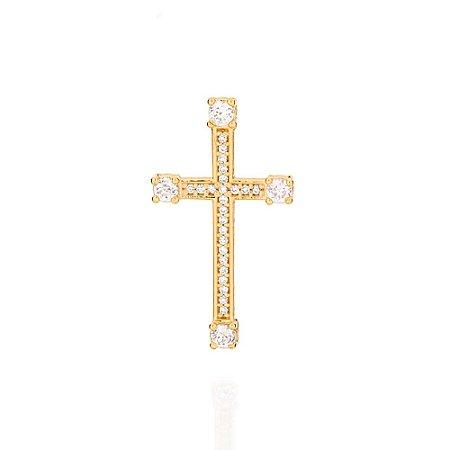 Crucifixo com Zircônio Folheado A Ouro Rommanel 541861