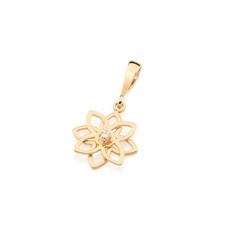 Pingente Flor Com Zircônia Folheado A Ouro Rommanel 541929