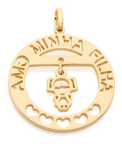 Pingente Amo Minha Filha Folheado A Ouro Rommanel 542090